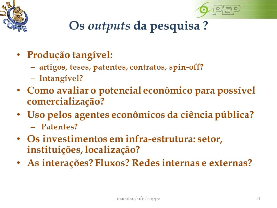 Os outputs da pesquisa Produção tangível: