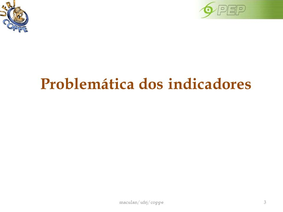 Problemática dos indicadores