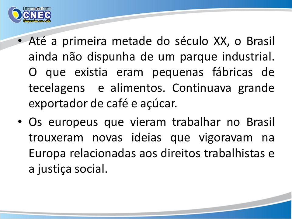 Até a primeira metade do século XX, o Brasil ainda não dispunha de um parque industrial. O que existia eram pequenas fábricas de tecelagens e alimentos. Continuava grande exportador de café e açúcar.