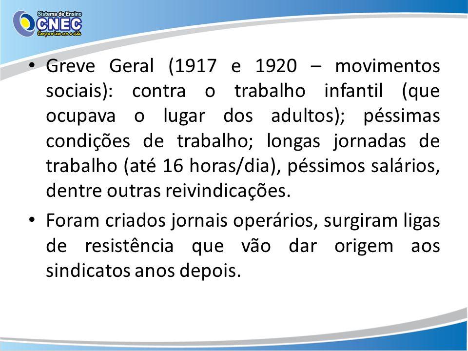 Greve Geral (1917 e 1920 – movimentos sociais): contra o trabalho infantil (que ocupava o lugar dos adultos); péssimas condições de trabalho; longas jornadas de trabalho (até 16 horas/dia), péssimos salários, dentre outras reivindicações.