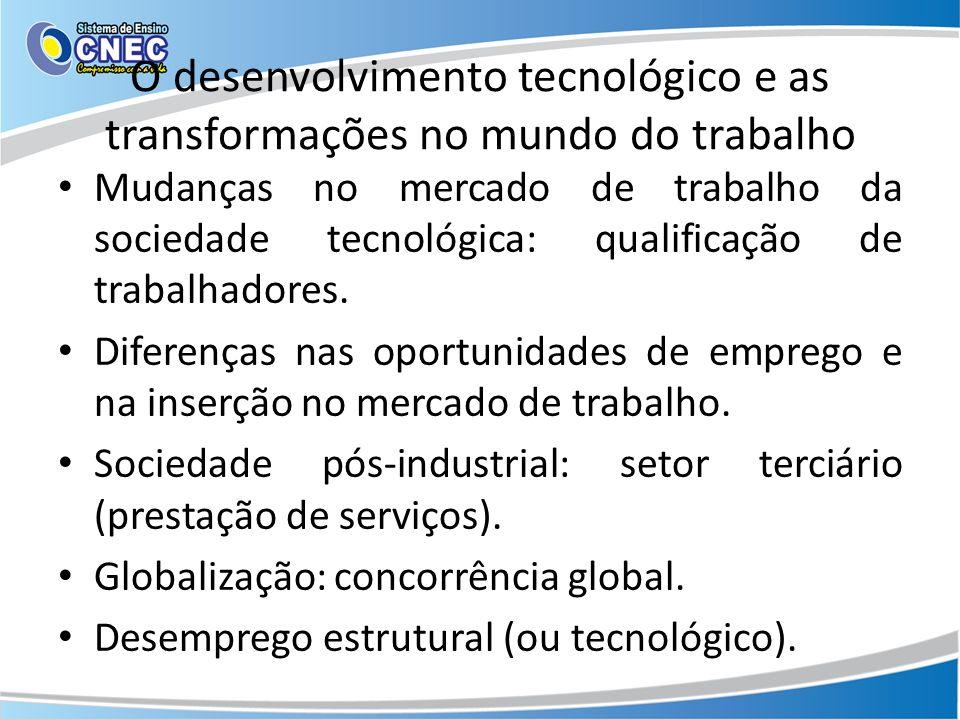 O desenvolvimento tecnológico e as transformações no mundo do trabalho
