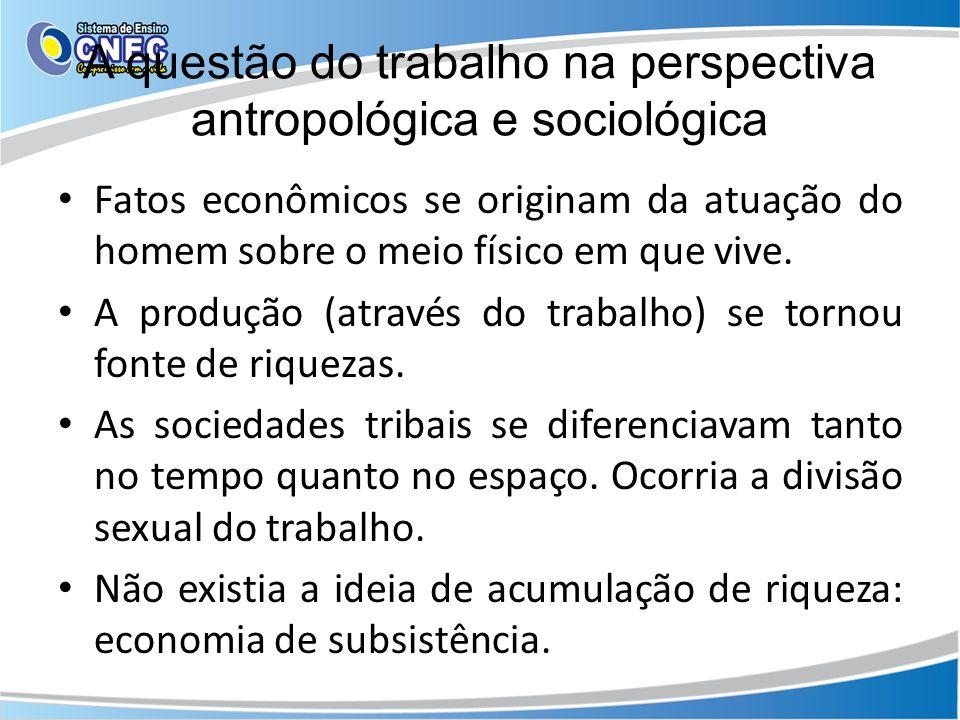 A questão do trabalho na perspectiva antropológica e sociológica