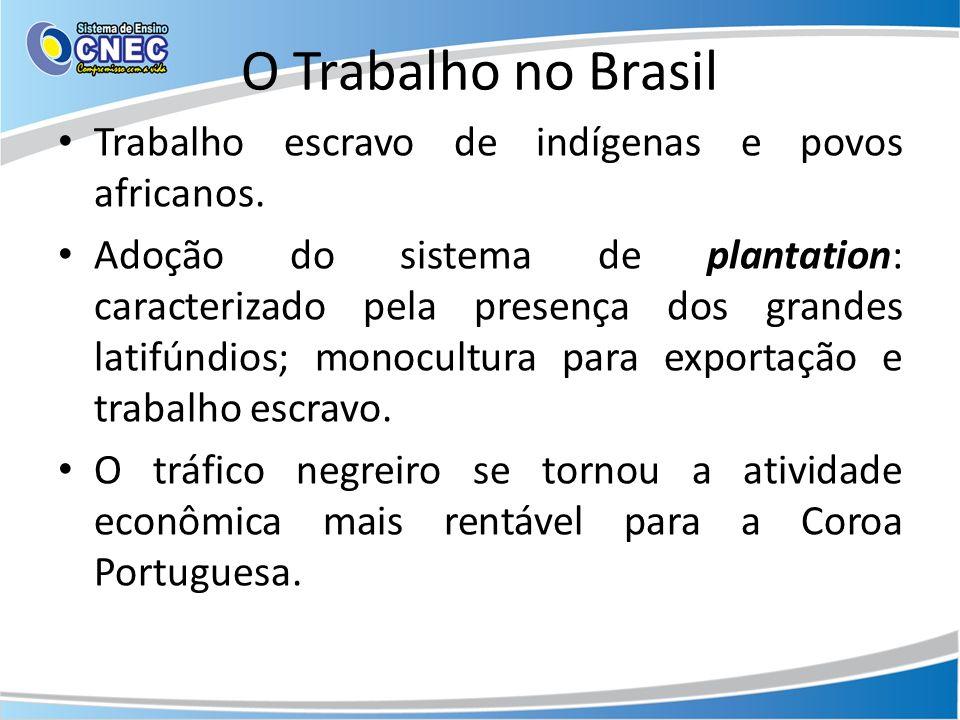 O Trabalho no Brasil Trabalho escravo de indígenas e povos africanos.
