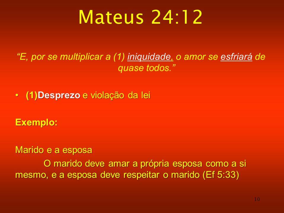 Mateus 24:12 E, por se multiplicar a (1) iniquidade, o amor se esfriará de quase todos. (1)Desprezo e violação da lei.