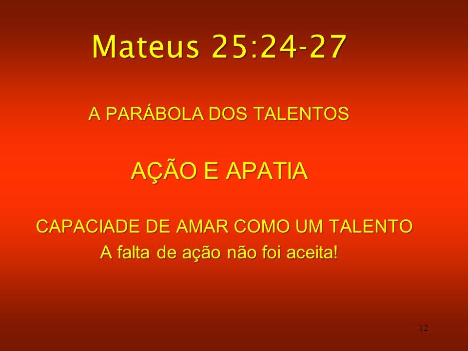 Mateus 25:24-27 AÇÃO E APATIA A PARÁBOLA DOS TALENTOS