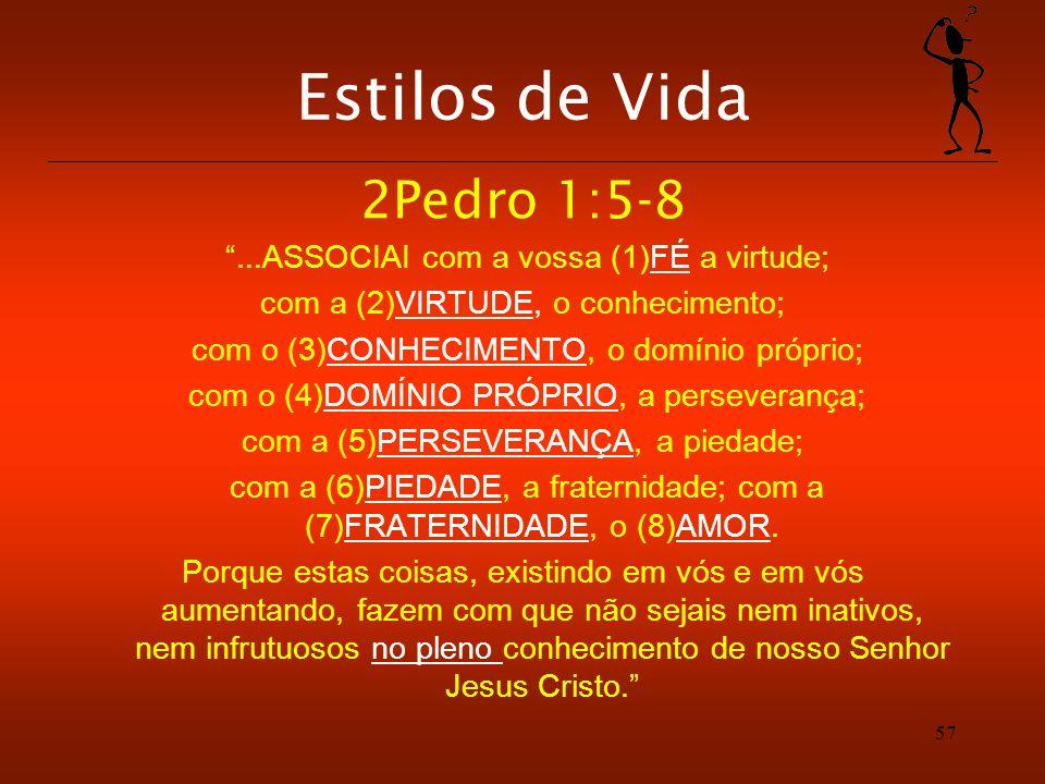 Estilos de Vida 2Pedro 1:5-8 ...ASSOCIAI com a vossa (1)FÉ a virtude;