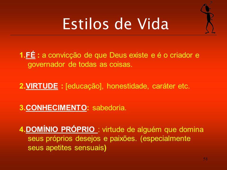 Estilos de Vida 1.FÉ : a convicção de que Deus existe e é o criador e governador de todas as coisas.