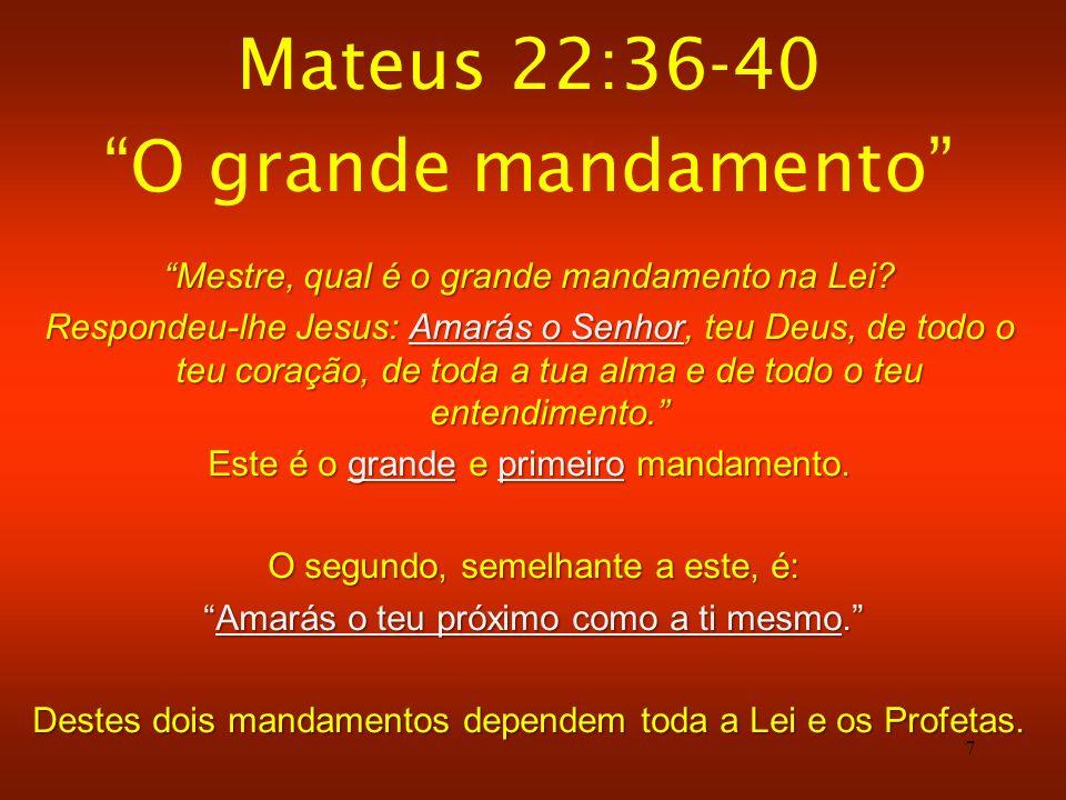 Mateus 22:36-40 O grande mandamento