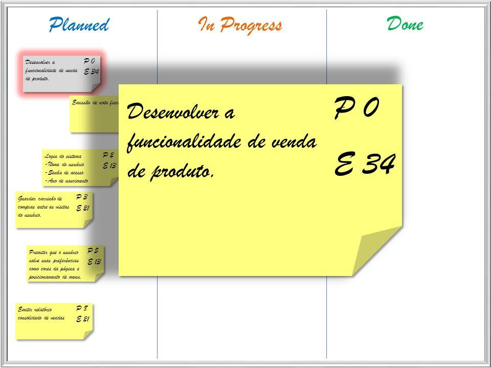 P 0 E 34 Desenvolver a funcionalidade de venda de produto. Planned