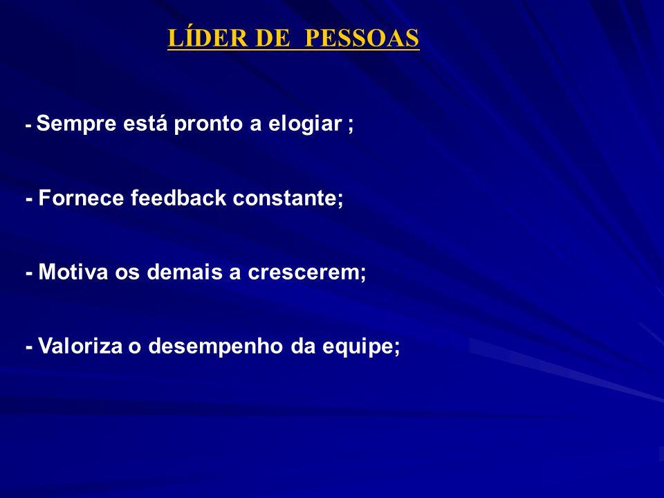 LÍDER DE PESSOAS - Fornece feedback constante;