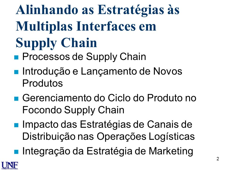 Alinhando as Estratégias às Multiplas Interfaces em Supply Chain