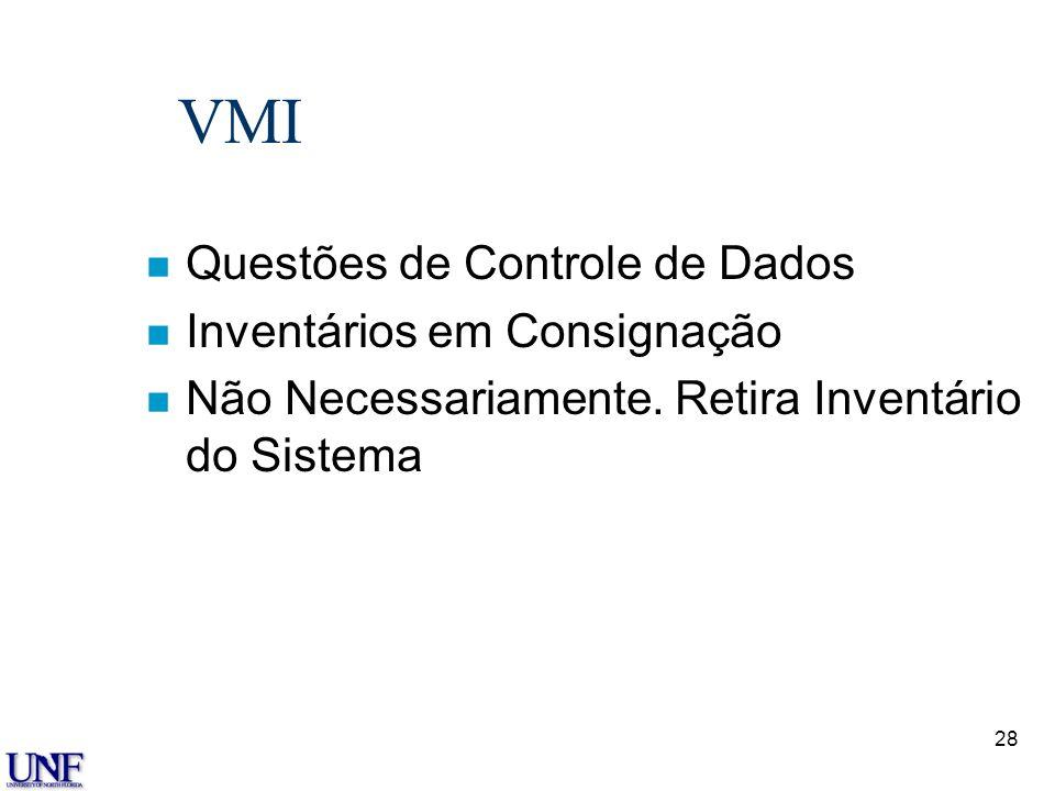 VMI Questões de Controle de Dados Inventários em Consignação