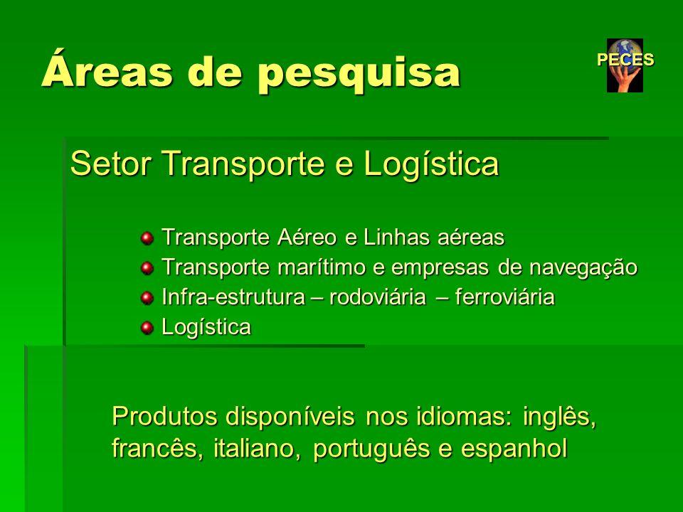 Áreas de pesquisa Setor Transporte e Logística