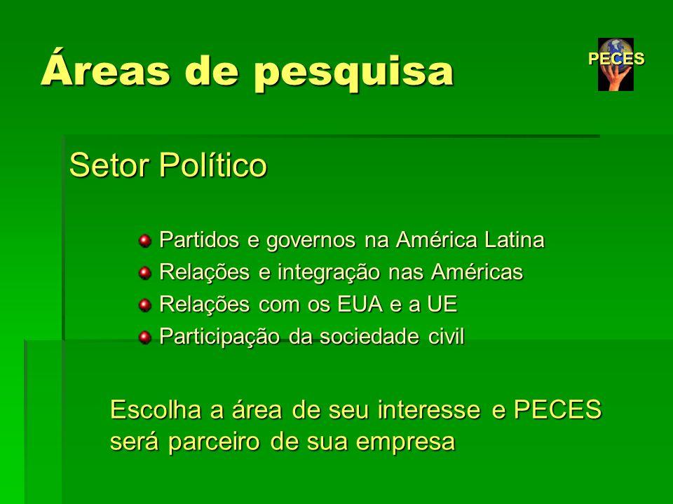 Áreas de pesquisa Setor Político