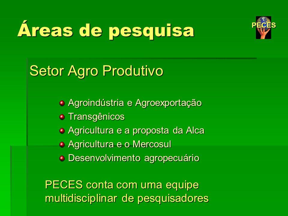 Áreas de pesquisa Setor Agro Produtivo