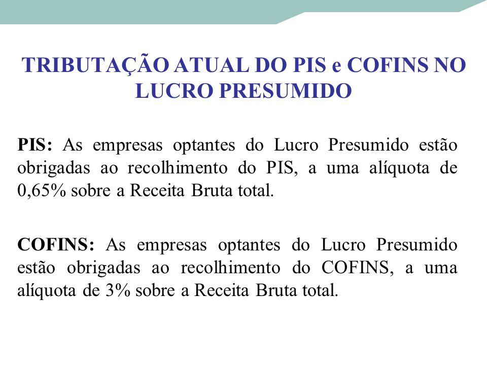 TRIBUTAÇÃO ATUAL DO PIS e COFINS NO LUCRO PRESUMIDO