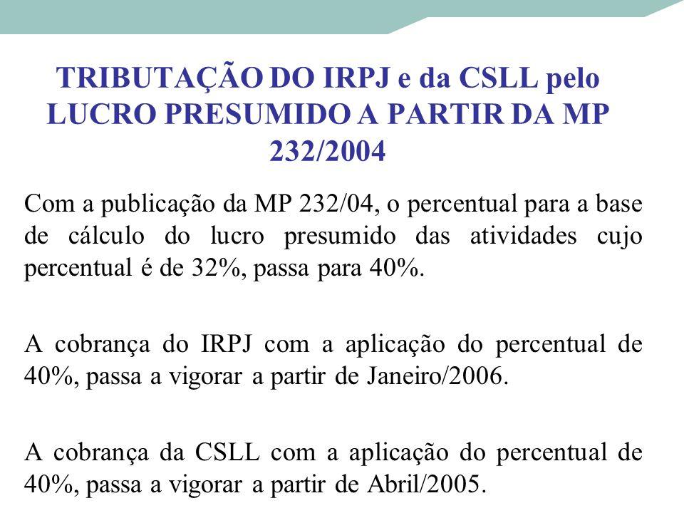 TRIBUTAÇÃO DO IRPJ e da CSLL pelo LUCRO PRESUMIDO A PARTIR DA MP 232/2004
