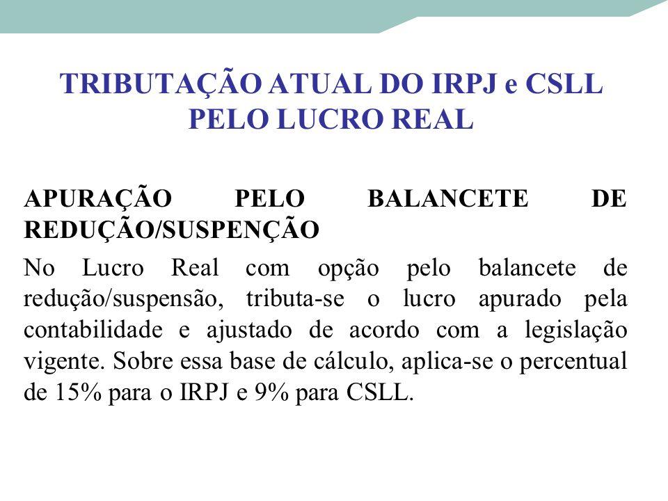 TRIBUTAÇÃO ATUAL DO IRPJ e CSLL PELO LUCRO REAL