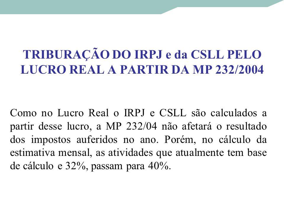 TRIBURAÇÃO DO IRPJ e da CSLL PELO LUCRO REAL A PARTIR DA MP 232/2004