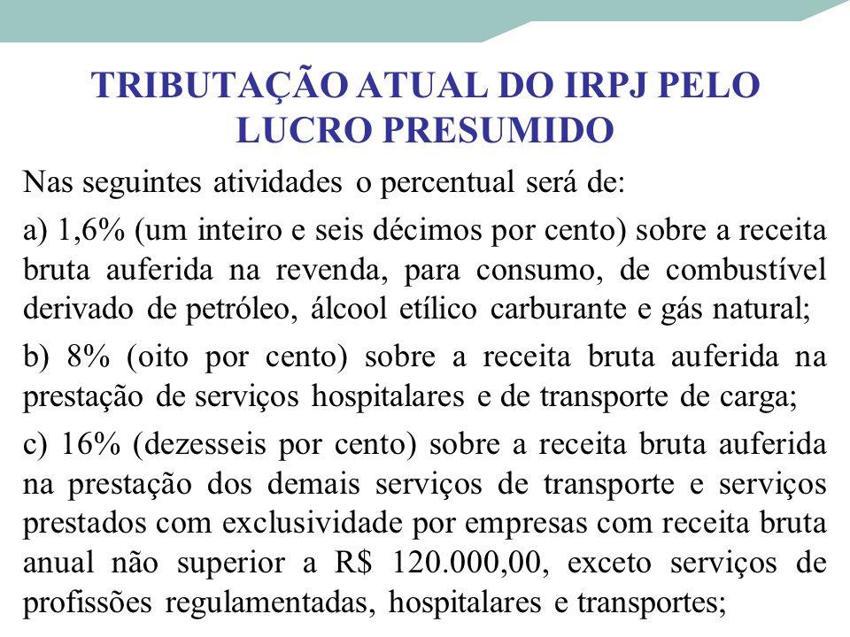 TRIBUTAÇÃO ATUAL DO IRPJ PELO LUCRO PRESUMIDO