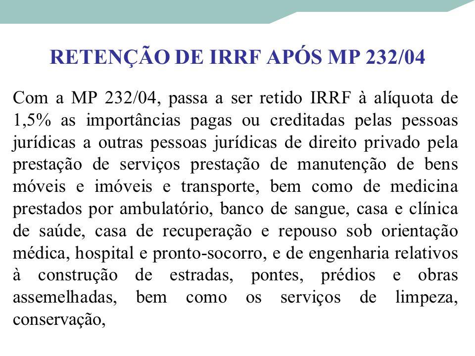 RETENÇÃO DE IRRF APÓS MP 232/04