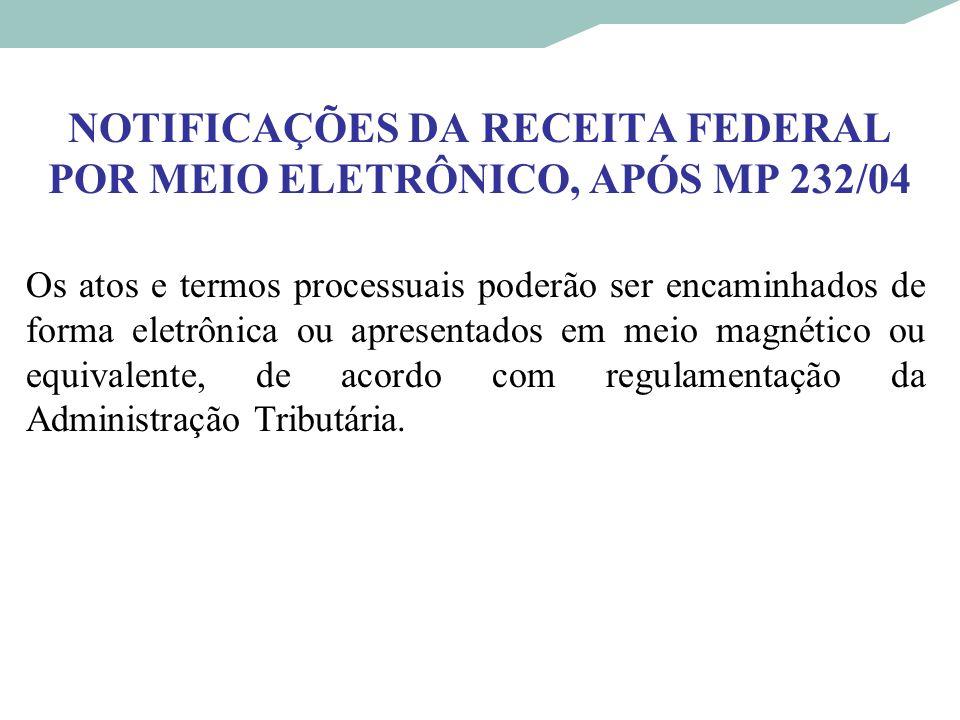 NOTIFICAÇÕES DA RECEITA FEDERAL POR MEIO ELETRÔNICO, APÓS MP 232/04