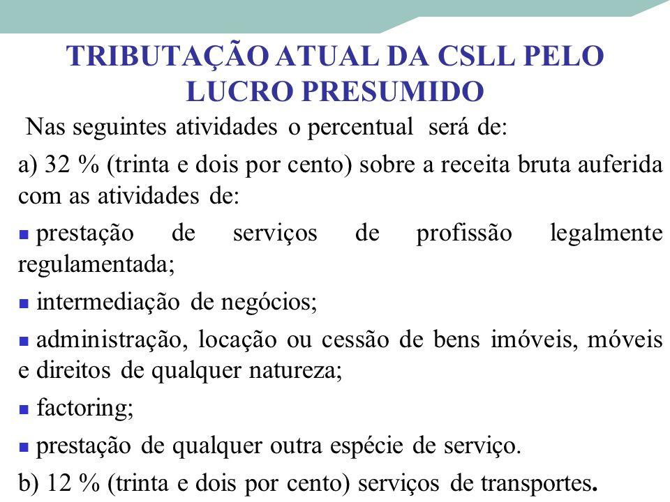 TRIBUTAÇÃO ATUAL DA CSLL PELO LUCRO PRESUMIDO