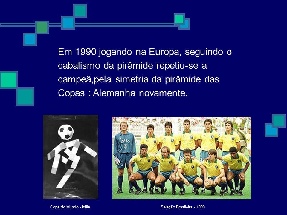 Em 1990 jogando na Europa, seguindo o cabalismo da pirâmide repetiu-se a campeã,pela simetria da pirâmide das Copas : Alemanha novamente.