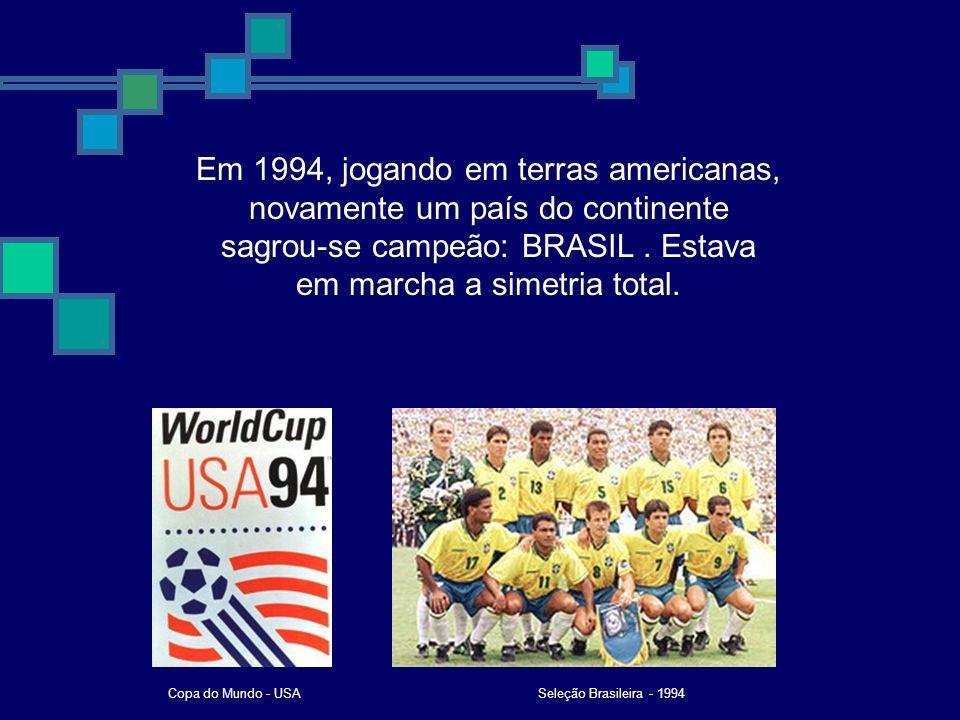 Em 1994, jogando em terras americanas, novamente um país do continente sagrou-se campeão: BRASIL . Estava em marcha a simetria total.