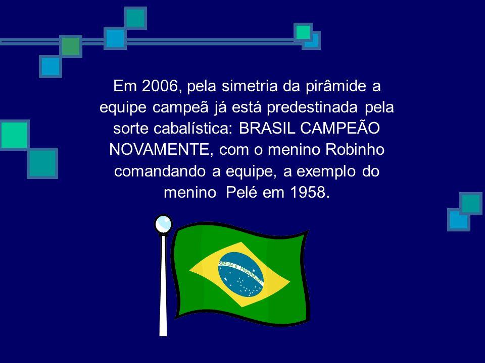 Em 2006, pela simetria da pirâmide a equipe campeã já está predestinada pela sorte cabalística: BRASIL CAMPEÃO NOVAMENTE, com o menino Robinho comandando a equipe, a exemplo do menino Pelé em 1958.