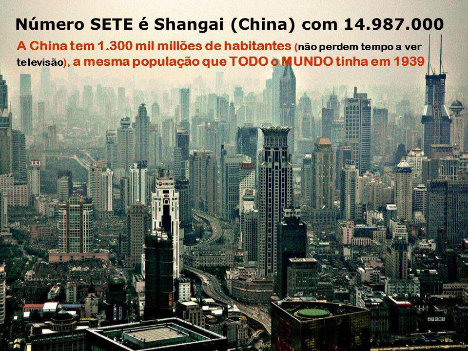 Número SETE é Shangai (China) com 14.987.000