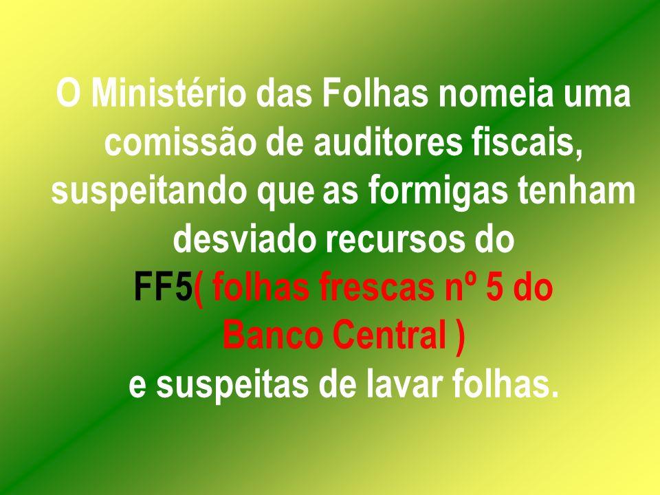 O Ministério das Folhas nomeia uma comissão de auditores fiscais, suspeitando que as formigas tenham desviado recursos do FF5( folhas frescas nº 5 do Banco Central ) e suspeitas de lavar folhas.