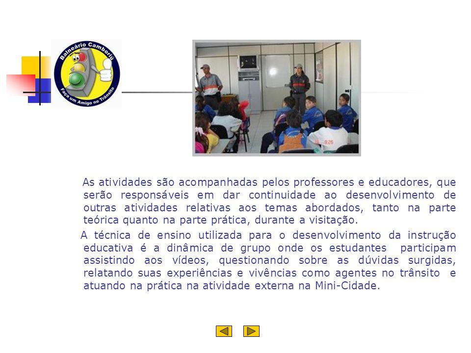 As atividades são acompanhadas pelos professores e educadores, que serão responsáveis em dar continuidade ao desenvolvimento de outras atividades relativas aos temas abordados, tanto na parte teórica quanto na parte prática, durante a visitação.