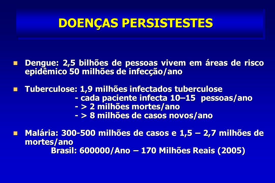 DOENÇAS PERSISTESTES Dengue: 2,5 bilhões de pessoas vivem em áreas de risco epidêmico 50 milhões de infecção/ano.