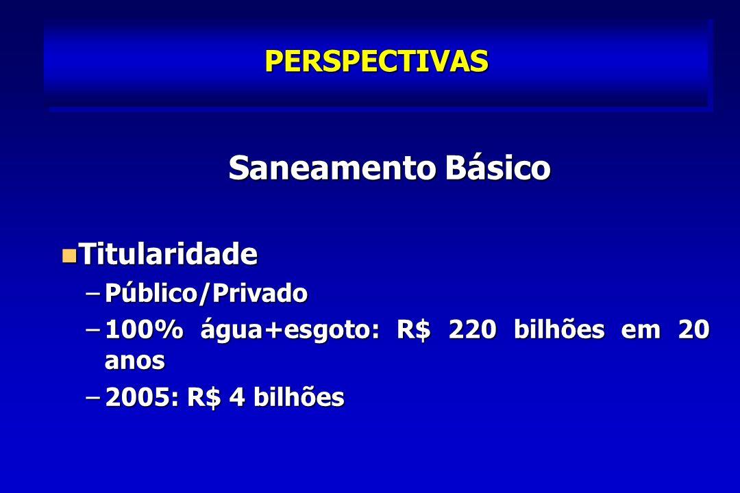 Saneamento Básico PERSPECTIVAS Titularidade Público/Privado