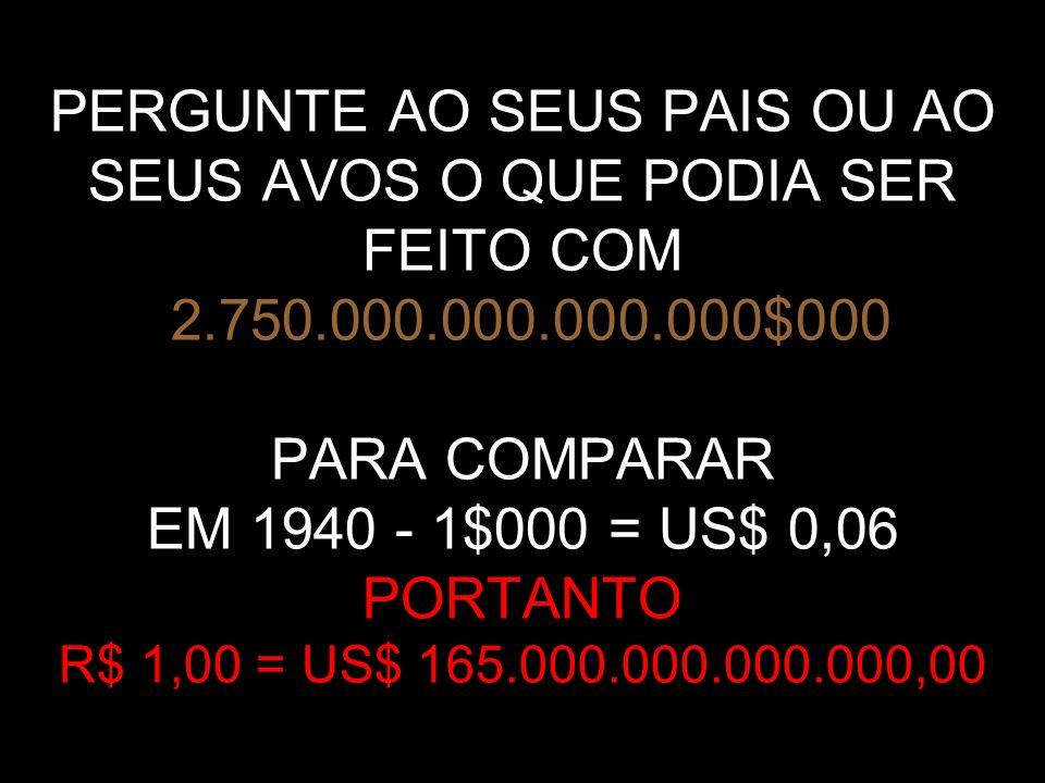 PERGUNTE AO SEUS PAIS OU AO SEUS AVOS O QUE PODIA SER FEITO COM 2. 750
