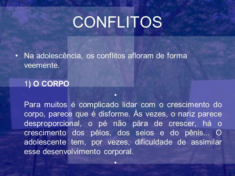 CONFLITOS Na adolescência, os conflitos afloram de forma veemente. 1) O CORPO.