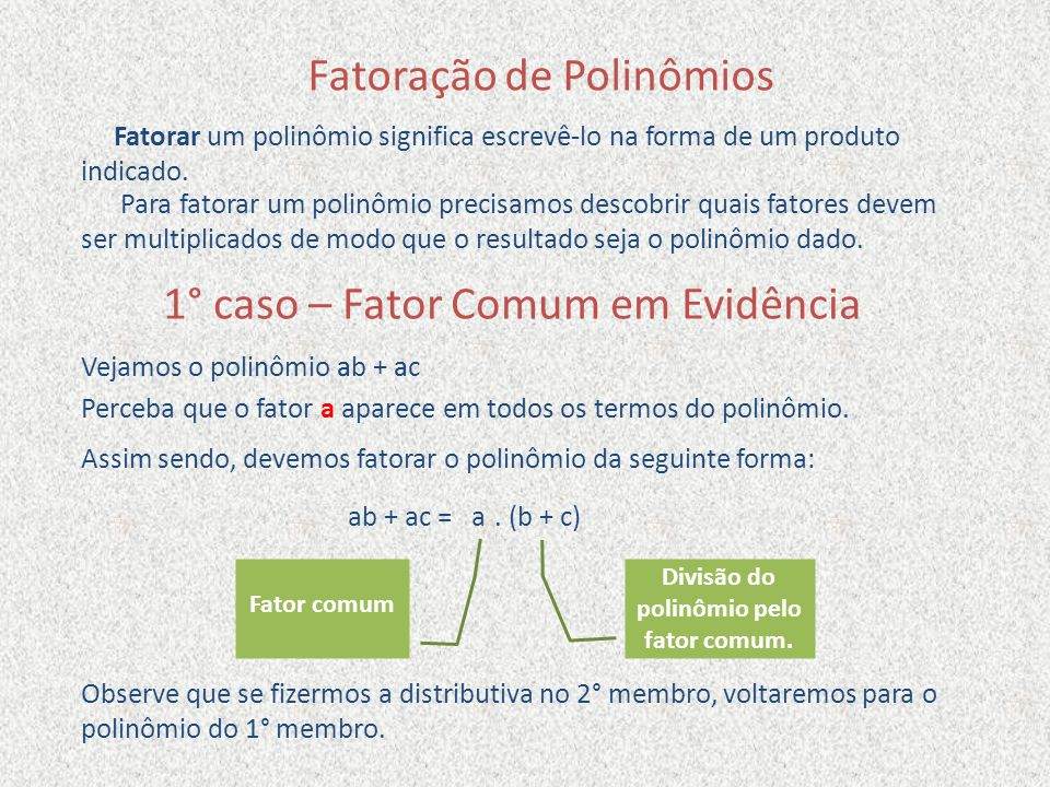 Divisão do polinômio pelo fator comum.
