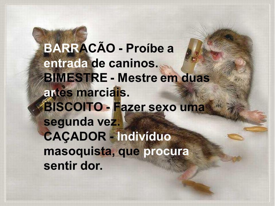 BARRACÃO - Proíbe a entrada de caninos.