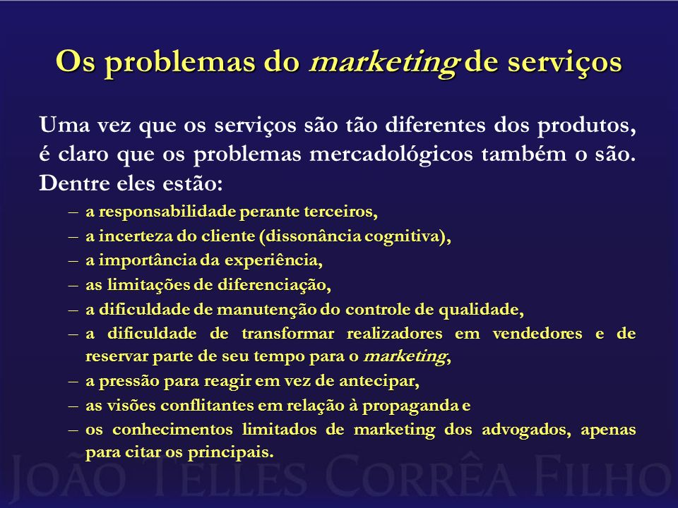 Os problemas do marketing de serviços