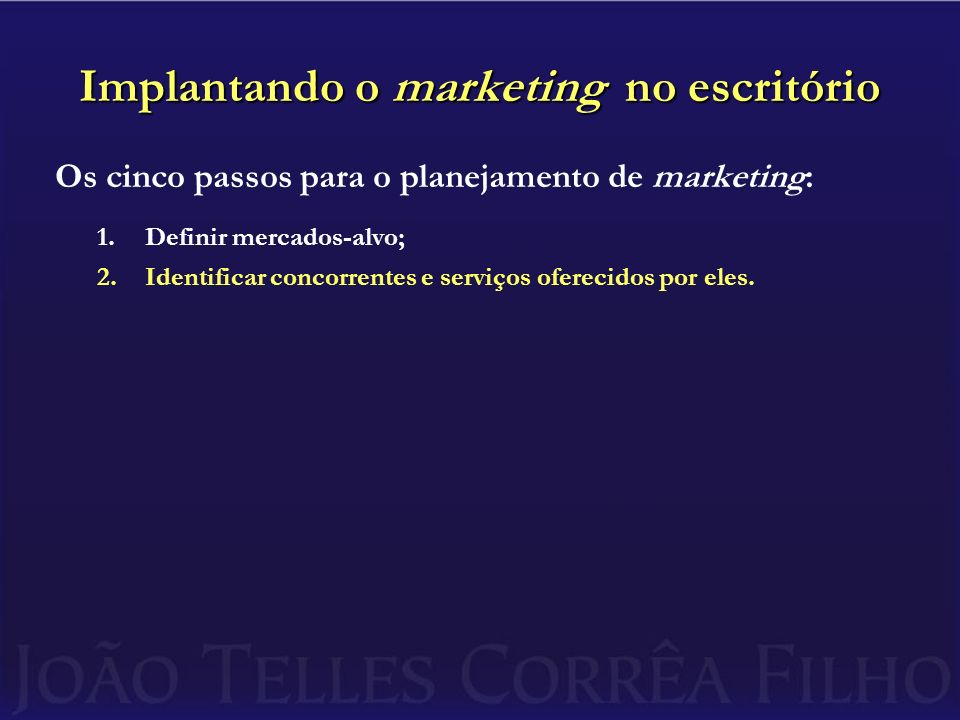 Implantando o marketing no escritório