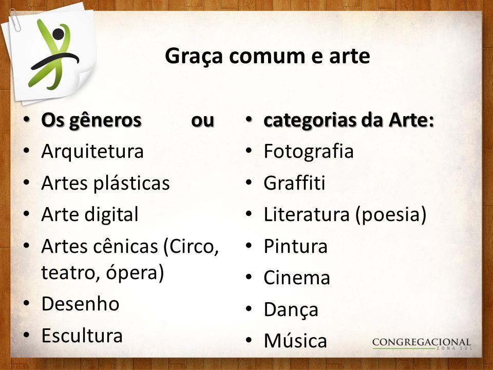 Graça comum e arte Os gêneros ou categorias da Arte: Arquitetura
