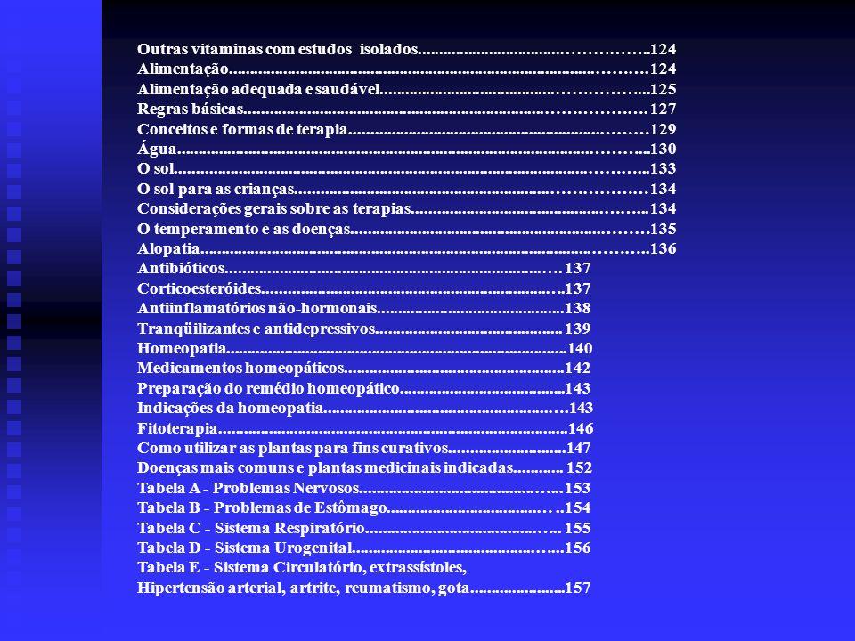 Outras vitaminas com estudos isolados..................................…………….. 124