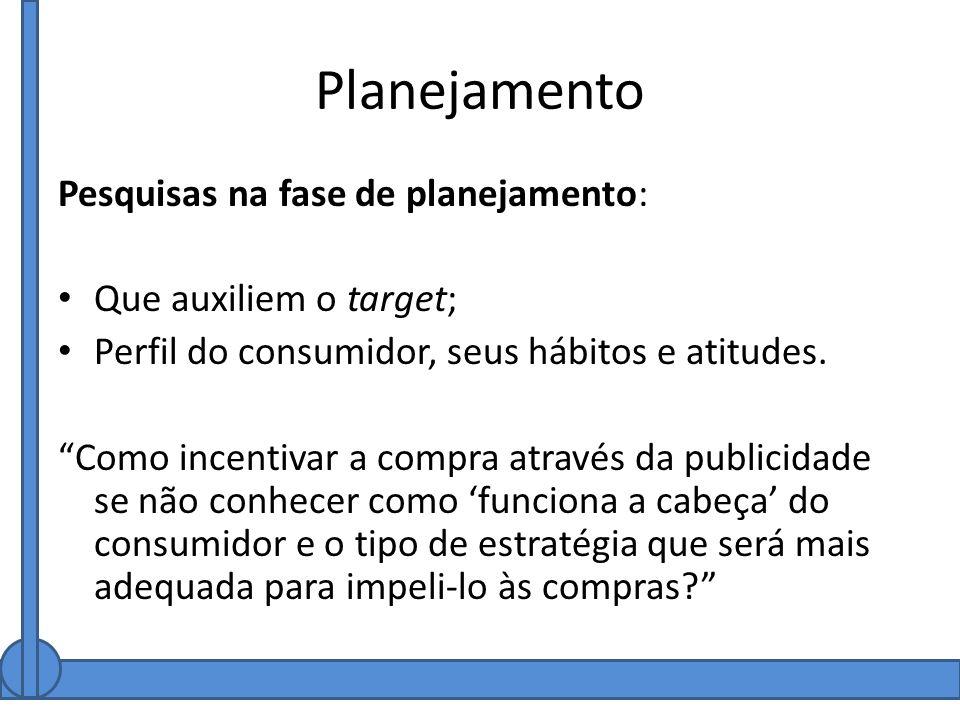 Planejamento Pesquisas na fase de planejamento: Que auxiliem o target;