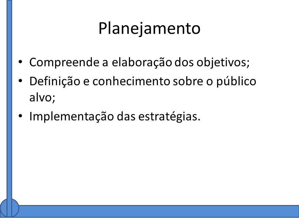 Planejamento Compreende a elaboração dos objetivos;
