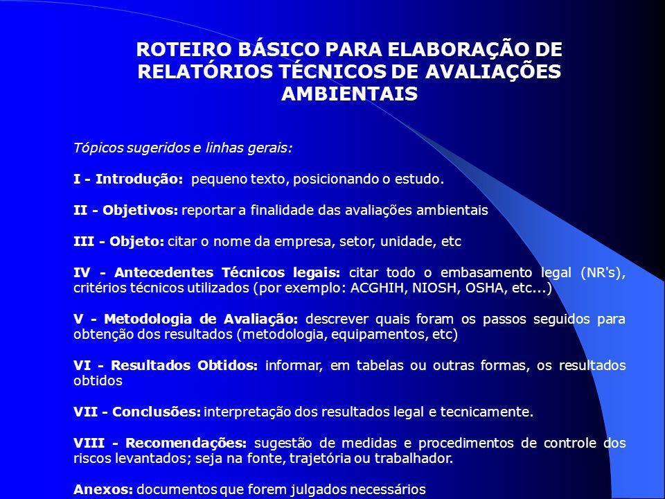 ROTEIRO BÁSICO PARA ELABORAÇÃO DE RELATÓRIOS TÉCNICOS DE AVALIAÇÕES AMBIENTAIS
