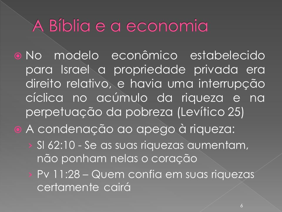 A Bíblia e a economia