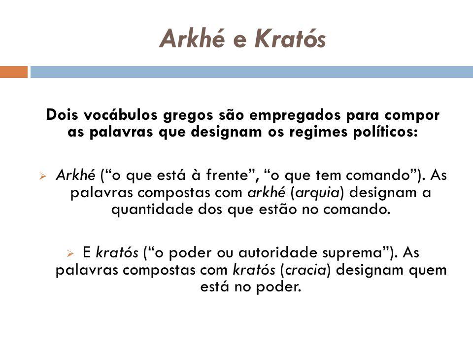 Arkhé e Kratós Dois vocábulos gregos são empregados para compor as palavras que designam os regimes políticos: