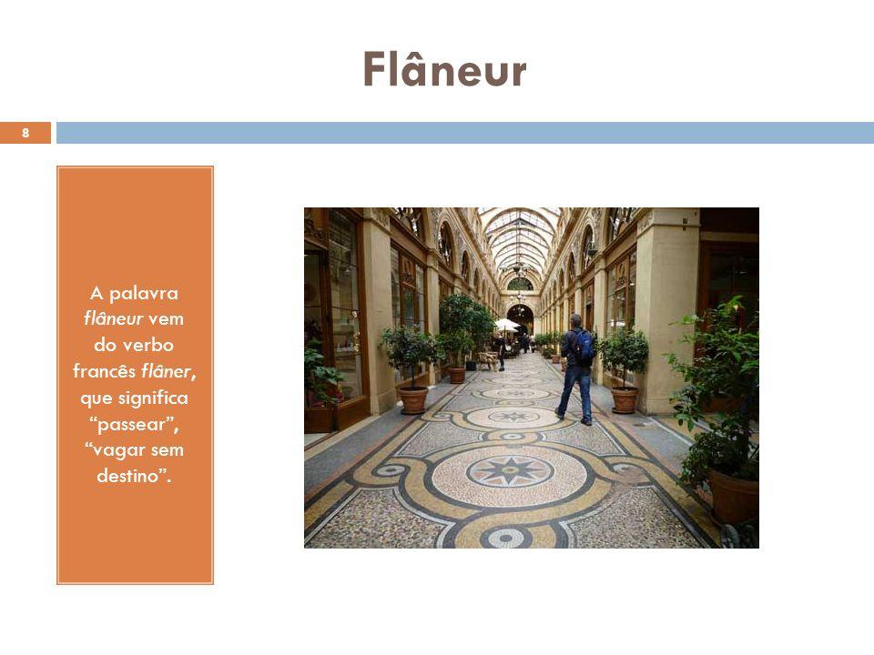 Flâneur A palavra flâneur vem do verbo francês flâner, que significa passear , vagar sem destino .