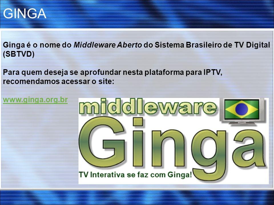 GINGA Ginga é o nome do Middleware Aberto do Sistema Brasileiro de TV Digital (SBTVD)